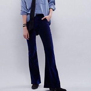 Free People Oxanna Velvet Blue Bell Bottom Pants